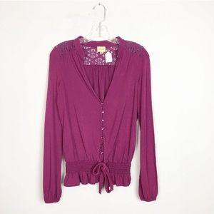 Ella Moss berry pink long sleeve boho top lace M